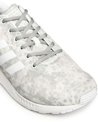 White Mountaineering X Adidas Originals 'zx Flux' Snow Camouflage Sneakers - White