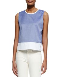 Theory Dayne Panama Sleeveless Contrast Shirt - Lyst