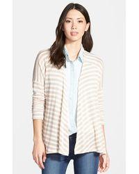 Pleione Stripe Drop Shoulder Open Front Cardigan beige - Lyst