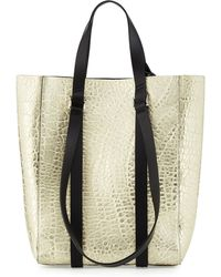 CoSTUME NATIONAL - Metallic Leather Tote Bag - Lyst
