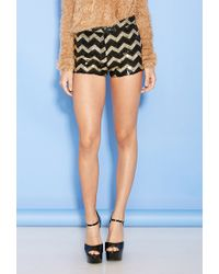 Forever 21 Sequined Chevron Pattern Shorts - Lyst