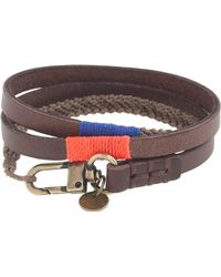 J.Crew - Caputo & Co. Triple-Wrap Leather And Waxed Cord Bracelet - Lyst