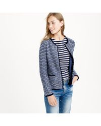 J.crew Petite Tweed Sweater-jacket With Fringe Trim in Blue | Lyst