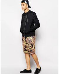 Criminal Damage - Mesh Shorts With Baroque Print - Lyst