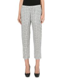 Theory | Korene Check-print Silk Trousers | Lyst