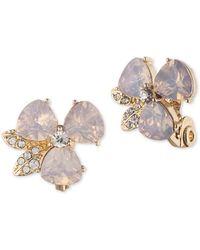 Anne Klein Pink Flower Clip-on Earrings