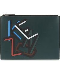 KENZO - Printed Leather Pouchette - Lyst