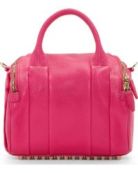 Alexander Wang Flamingo Pink Metallic Leather Rockie Sling Bag - Lyst