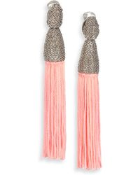 Oscar de la Renta Silk Tassel Clip-On Earrings/Gunmetal Tone - Lyst