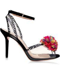 Charlotte Olympia Black Patent Leather Sandal W/Raffia Pompom - Lyst