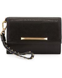 B Brian Atwood - Tippy Leather Flap Wristlet Clutch Bag Black - Lyst