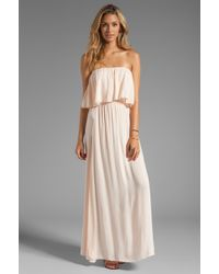 Indah Havi Rayon Crepe Strapless Maxi Dress with Flounce Top in Blush - Pink
