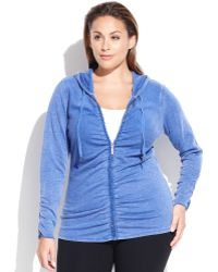 Calvin Klein Performance Plus Size Ruched Ruffled Hoodie - Lyst