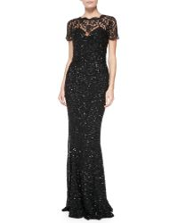 Rachel Gilbert Elaine Beaded-lace Gown W Short Sleeves - Lyst