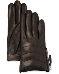 Portolano Leather Quilted Zip Glove - Lyst