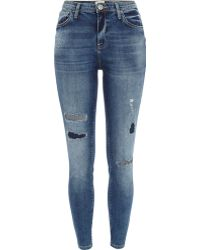 River Island Mid Wash Ripped Lana Superskinny Jeans - Lyst