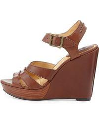Frye Alexa Seamed Leather Wedge - Lyst