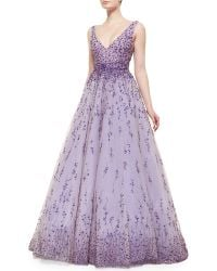 Monique Lhuillier Floral Beaded Degrade Ball Gown - Lyst