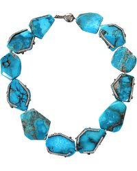 Colette - Turquoise Pave Diamond Necklace - Lyst