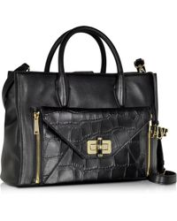 Diane von Furstenberg | 440 Gallery Large Double Agent Black Embossed Croco Leather Tote | Lyst