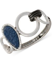 Kenneth Cole New York Silver-tone Faceted Blue Bead Bangle Bracelet - Lyst
