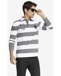 Express Long Sleeve Rugby Stripe Large Lion Polo - White