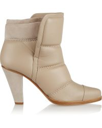 Chloé Padded Leather and Suede Ankle Boots - Lyst