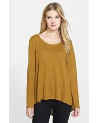 Eileen Fisher Scoop Neck Organic Linen High/Low Sweater - Lyst