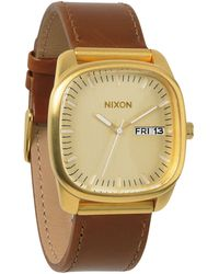 Nixon Identity Gold Watch With Brown Leather Strap - Lyst