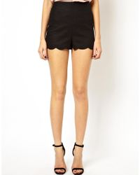 Asos Shorts In Linen With Scallop Hem - Lyst