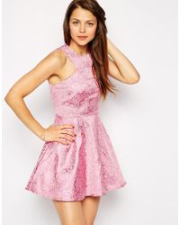 AX Paris Skater Dress In Jacquard With Net Underlay - Lyst