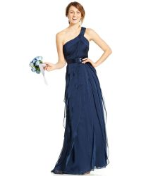 Adrianna Papell One-Shoulder Tiered Chiffon Gown - Lyst