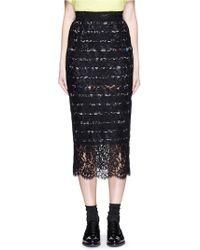 Preen | 'ilaria' Stripe Crepe Underlay Lace Skirt | Lyst