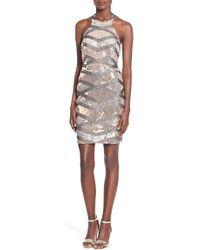 Way-in - Sequin Halter Body-con Dress - Lyst