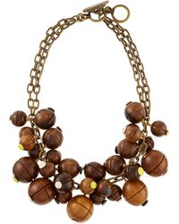 Lela Rose Wooden Bauble Bib Necklace - Brown