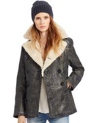 Denim & Supply Ralph Lauren - Wax-coated Faux-sherpa Peacoat - Lyst