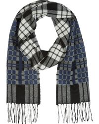 Alexander McQueen Navy and Greyscale Wool Check Scarf - Lyst