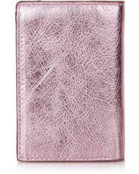 Topshop Metallic Leather Oyster Card Holder  Pink - Lyst