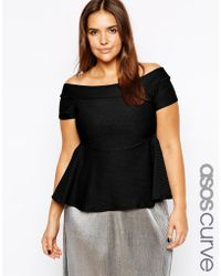 Asos Curve Exclusive Bardot Top with Peplum in Texture - Lyst