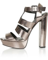 Topshop Lucy Gladiator Sandals  Pewter - Lyst