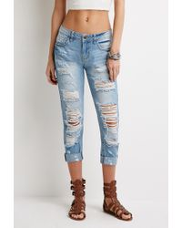 Forever 21 Destroyed Low-Rise Jeans - Lyst