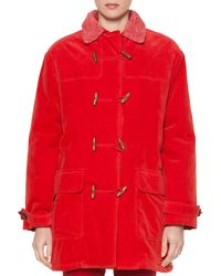 Tomas Maier Sporty Velvet Fleece-trimmed Toggle Coat - Red