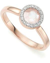 Monica Vinader Diva Mini Circle Moonstone Ring - Metallic