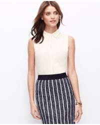 Ann Taylor Petite Crepe Button Back Shell - Lyst