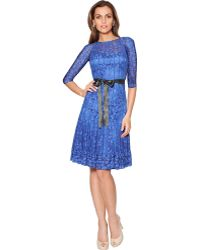 Teri Jon Lace Overlay Illusion Dress - Lyst