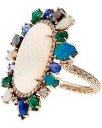 NSR Nina Runsdorf - Diamond, Opal, Emerald & Sapphire Ring - Lyst
