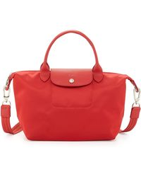 Longchamp Le Pliage Small Shoulder Tote with Strap Poppy - Lyst