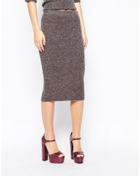 First & I Knitted Midi Skirt - Brown