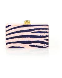 Edie Parker Jean Zebra Acrylic Clutch pink - Lyst
