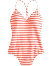 J.Crew Striped One-Piece Swimsuit orange - Lyst